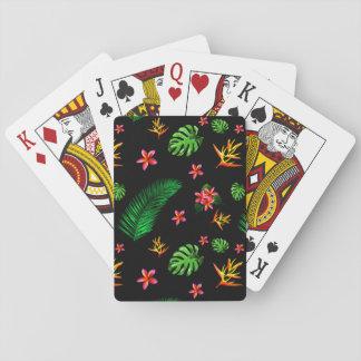 Cartes À Jouer La fleur tropicale à la mode des femmes laisse le