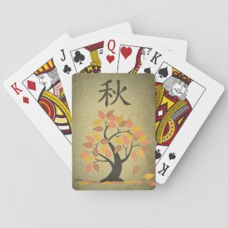 Cartes À Jouer L'arbre d'automne d'automne (秋) laisse des cartes
