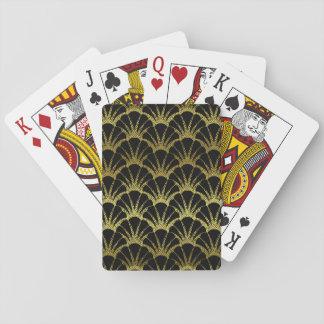 Cartes À Jouer Le rétro noir d'art déco/or Shell mesurent le