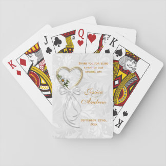 Cartes À Jouer Marguerite romantique, coeur d'or et ruban blanc