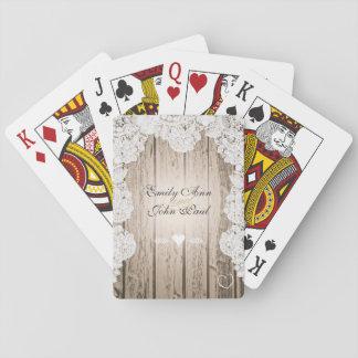 Cartes À Jouer Mariage vintage en bois de grange romantique