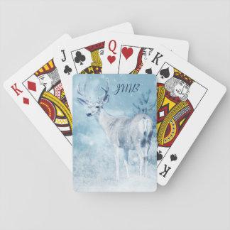 Cartes À Jouer Monogramme de cerfs communs et de pins d'hiver