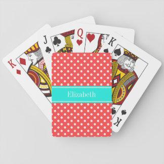 Cartes À Jouer Monogramme lumineux de nom d'Aqua de pois de