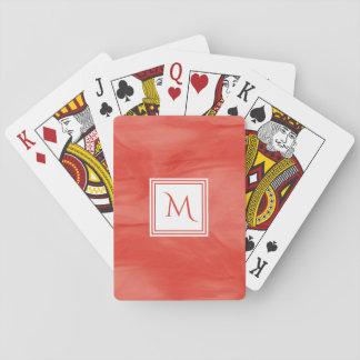 Cartes À Jouer Monogramme moderne de marbre subtil orange rouge