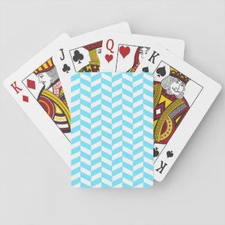 Cartes À Jouer Motif bleu lumineux blanc en arête de poisson de