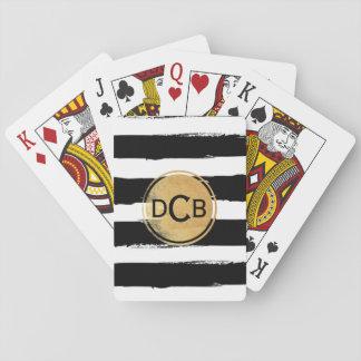 Cartes À Jouer Noir et cartes de jeu de monogramme d'or