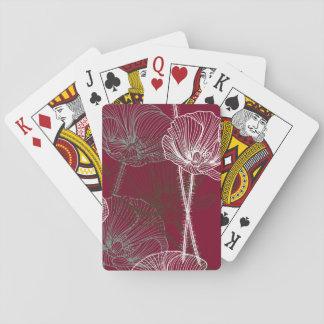 Cartes À Jouer Pavots tirés par la main sur le rouge