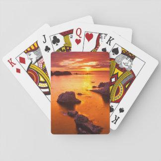 Cartes À Jouer Paysage marin orange, coucher du soleil, la