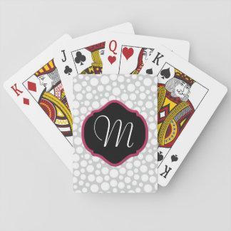 Cartes À Jouer Points blancs sur décoré d'un monogramme