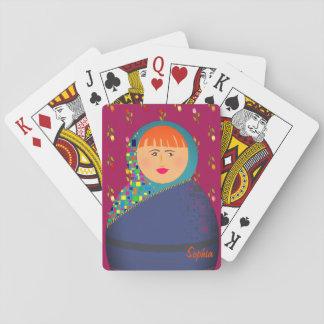 Cartes À Jouer Portrait Sophia personnalisé par pourpre floral de