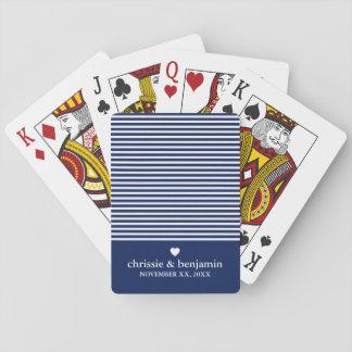Cartes À Jouer Rayure faite sur commande de date de marié de