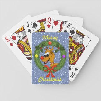 Cartes À Jouer Renne dans des cartes de jeu de Noël de guirlande