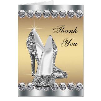 Cartes argentées de Merci de chaussure de talon