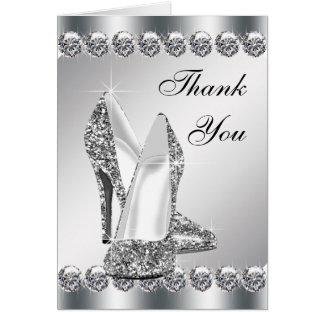 Cartes argentées élégantes de Merci de chaussure