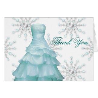 Cartes blanches bleues de Merci de Quinceanera de