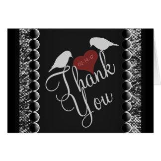 Cartes blanches de Merci de noir de coeurs