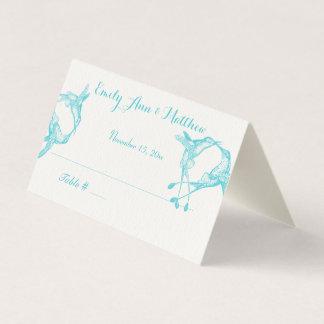 Cartes bleues d'endroit de mariage de colibri de