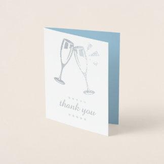Cartes bleues élégantes de Merci de mariage