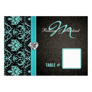 Cartes bleues/noires d'Aqua élégant de damassé de Carte De Visite Grand Format