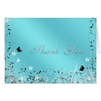 Cartes bleues turquoises de Merci de papillon