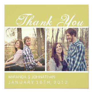 Cartes Chartreuse de Merci de mariage de photo Carton D'invitation 13,33 Cm