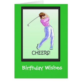 Cartes d'anniversaire jouantes au golf, golfeur de