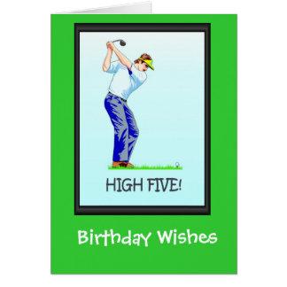 Cartes d'anniversaire jouantes au golf, prenant un