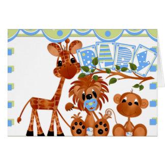 Cartes de bébé d'animaux de zoo, autocollants,