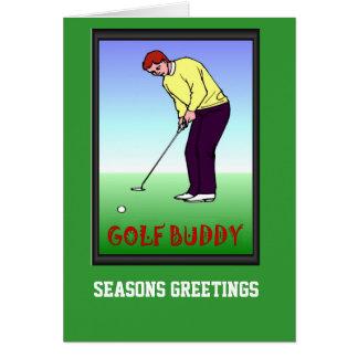 Cartes de golf, golfeur sur le vert