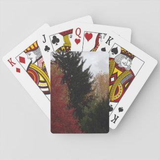 Cartes de jeu colorées de photo d'arbres d'automne jeu de cartes