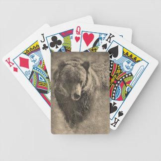 Cartes de jeu de dessin d'ours gris jeu de cartes