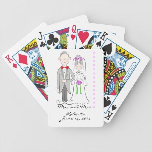 Cartes de jeu de mariage de jeunes mariés cartes de poker