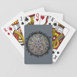 Cartes de jeu de pentagramme d'abondance - gris jeu de cartes