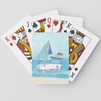 Cartes de jeu nautiques avec le bateau sur le lac jeu de cartes