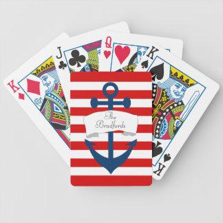 Cartes de jeu nautiques d'ancre jeu de cartes