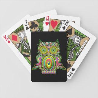 Cartes de jeu psychédéliques de Popart de hibou Cartes À Jouer
