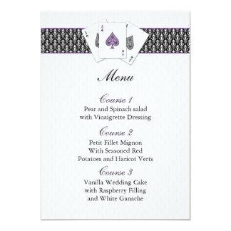 Cartes de menu de mariage de Las Vegas Carton D'invitation 12,7 Cm X 17,78 Cm