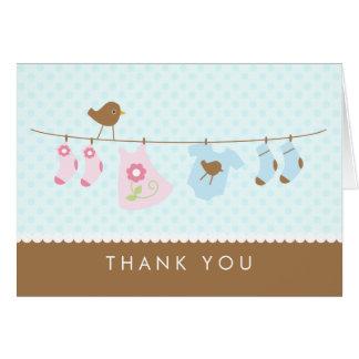 Cartes de Merci de baby shower de corde à linge
