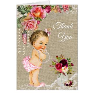 Cartes de Merci de baby shower de dentelle de