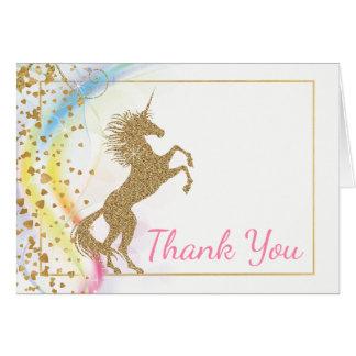 Cartes de Merci de baby shower de licorne