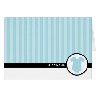 Cartes de Merci de baby shower de rayures bleues