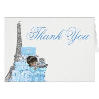 Cartes de Merci de garçon de baby shower de Paris
