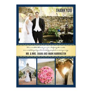 Cartes de Merci de mariage de Multi-photo d'or de Carton D'invitation 12,7 Cm X 17,78 Cm