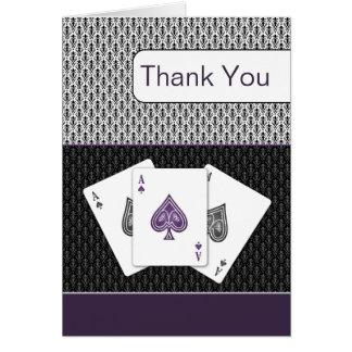 cartes de Merci de mariage de vegas d'as du
