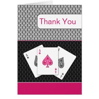 cartes de Merci de mariage de vegas d'as du rose 3