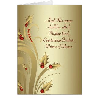 Cartes de Noël chrétiennes d'or rouge