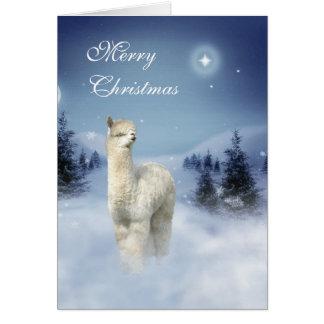 Carte Cartes de Noël de nuit d'hiver d'alpaga