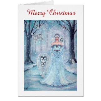 Cartes de Noël de reine et de lion d'hiver par