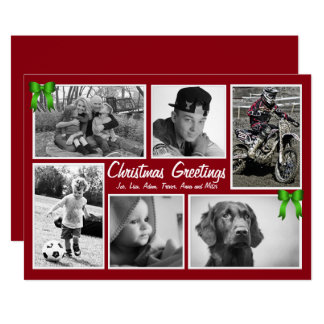 Cartes de Noël plates de Multi-Photo de famille