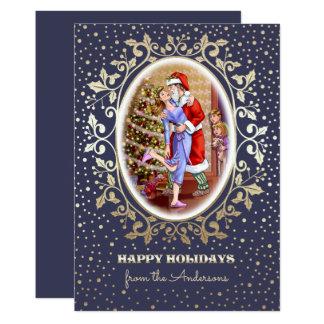 Cartes de Noël plates de scène de famille de Noël